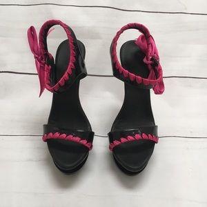 Fuchsia and Black Pleaser Heels
